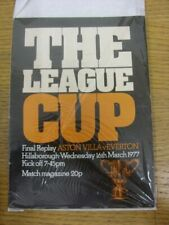 16/03/1977 Football League Cup Final Replay: Aston Villa v Everton [At Sheffield