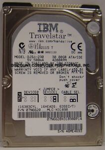"IBM DJSA-230 30GB 12.5MM 2.5"" IDE Hard Drive Tested Good Our Drives Work"