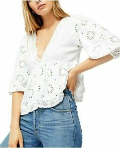 Free People Sweeter Side Top Eyelet Embroidered Lace White Blouse New Large L