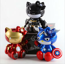 Hello Kitty COS Avengers Superheros Captain America Iron Man Batman Figure Toys