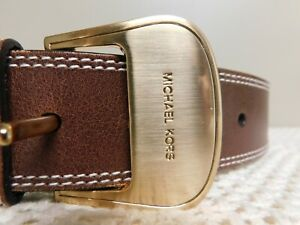 "Michael Kors brown leather belt  553831 with goldtone buckle Size small 28""-32"""