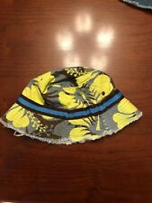 Mini Boden Kids Bucket Hat Size 7-10 Yellow Brown And Grey