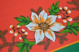 A RETRO POINSETTIA CHRISTMAS IN RED & GREEN! VTG GERMAN PRINT TABLECLOTH