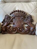 Antique French Armorial Coat Of Arms Carved Wood Bonnel Bonnell Huguenot