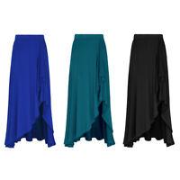 Women's Boho Elastic Waist Asymmetric Wrap Maxi Split Skirt Summer Long Dress