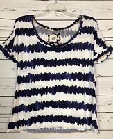 Anthropologie Lilka Summer Navy White Tee Top Shirt Blouse Women's Size S Small