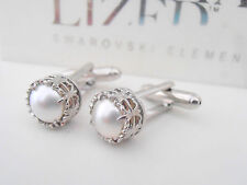 Swarovski Cufflinks Crystal White Perles Groom Wedding Bridal Cuff links