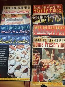 Eight X 1950's Pre-decimal Good Housekeeping Recipe mags. Some covers repaired.