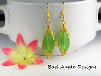 SEA GLASS Teardrop Green Weave Wire GOLD Dangle Earrings USA HANDMADE