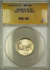 1945-D/D RPM-2 DDO DIE 5 Wartime Silver Jefferson Nickel 5c Coin ANACS MS-66 (i)