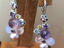 18K.White Gold Diamond Dangling Earing with Pearl,Moon st.,Amethysy,Blue,Yellow