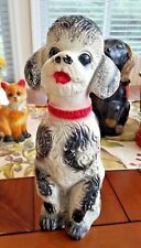 Excellent 1940's Carnival Chalkware Poodle Dog Bank w/ Silver Glitter