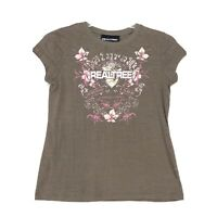Real Tree Burnout Tee T-Shirt Womens Size S Small Brown Short Sleeve Crewneck