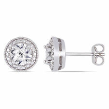Amour Sterling Silver Diamond Round Halo Stud Earrings