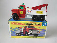1968 Matchbox ESSO Ford Heavy Wreck Truck #71 England with F-Type Superfast box