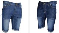 DENIM MEN'S SHORTS JEANS  CASUAL SHORTS ROLL UP  PANTS Size 30-38 DARK & LIGHT