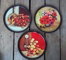 Vintage Round Metal Floral Tray 10-3/4 Diameter Set of 3 Drinks Vanity Wall Deco