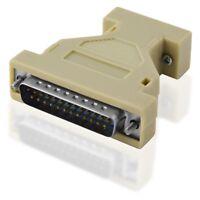 D-SUB Nullmodem Adapter 25 polig Stecker auf 9 polige Buchse Kupplung weiblich
