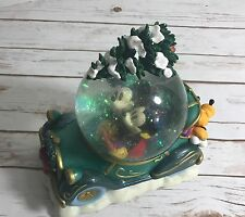 Disney Mickey Minnie Pluto Christmas Tree Car Musical Snow Globe Retired Rare