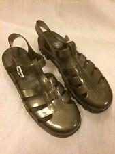Genuine JUJU plastic 'jelly' fisherman sandals, UK6 metallic grey/gold LIGHT USE