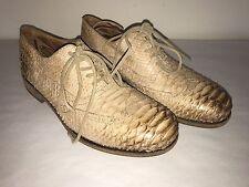 Mens BLACKSTONE DUTCH DESIGN Beige/ Brown Leather Snake Skin  size 43 Men Shoe