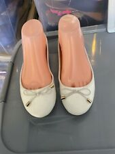 New White Ballerina Pumps With A Bow Size 5