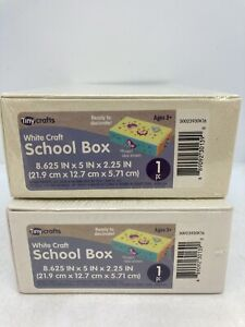 """2 Tiny Crafts White Craft School Boxes 8.625"""" x 5"""" x 2.25"""" Ready to Decorate"""