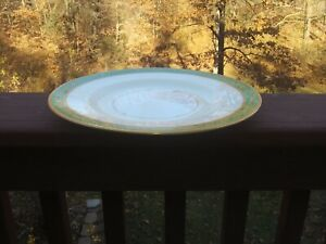 8 Mintons England Green Gold Trim Dinner Plates Inventory Reduction Sale