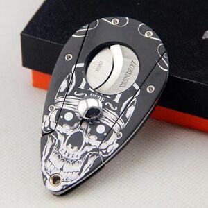Fashion Black LUBINSKI Skull Pattern Aluminum Stainless Steel Blade Cigar Cutter
