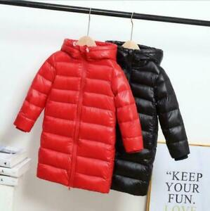 Toddler Kids Girls Boys Warm Hooded Long Down Jacket Thick Padded Coat Snowsuits