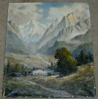 ADOLF WEGENER SIGNED ORIGINAL OIL PAINTING OF MOUNTAIN LANDSCAPE