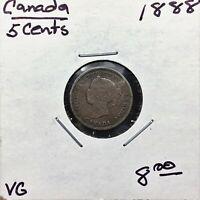 1888 Canada 5 Cents Silver Coin, Queen Victoria, VG