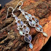 Natural Labradorite 925 Sterling Silver Designer Long Dangle Earrings Jewelry