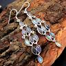 Natural Labradorite 925 Sterling Silver Designer Long Dangle Earrings Jewelry