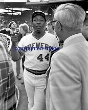 Hank Aaron 1975-76 Milwaukee Brewers Milwaukee County Stadium  B+W 8x10 E