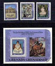 Grenada Grenadines 1982 nacimiento del príncipe Guillermo Set Y Hoja estampillada sin montar o nunca montada