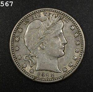 "1914 Barber Quarter ""XF Rim Cut"" *Free S/H After 1st Item*"