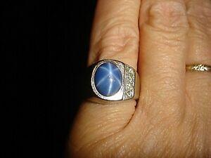 Vintage 14k White Gold Linde Blue Star Sapphire and Diamond Ring  Sz 9