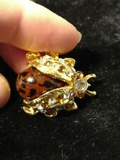 brooch rhinestones gold tone brown spotted Beetle lady bug insect Jeweled pin