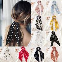 Women Streamers Scrunchies Dot Floral Print Elastic Bow Hair Rope Girl Hair Tie