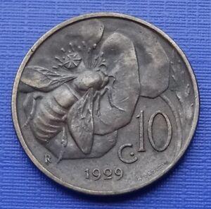 Italy 10 Centesimi Coin, V. Emanuele III~1929 Honey Bee~KM#60~Bronze~VF, X266