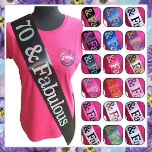 70 and Fabulous Birthday Sash - Choose Your Colour - 70th Birthday Gift - Party