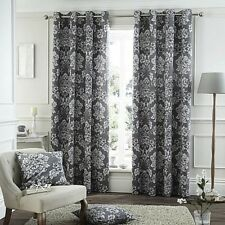 "Catherine Lansfield 66"" x 54"" Toile Floral Damask Grey Lined Eyelet Curtains"