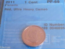 2011 CANADA 1 CENT RED, CCCS GRADED PF- 69 ULTRA HEAVY CAMEO. GEM