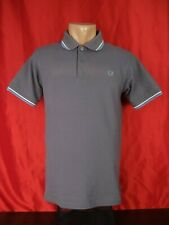 """Fred Perry Mens S Small Polo Shirt Gray Short Sleeves Twin Tipped 19"""""""