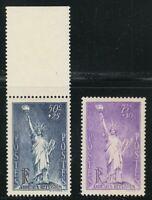 France 1936-1937 MNH Mi 312,357 Sc B44-B45 Statue of Liberty ,USA **