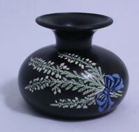 Vintage Shelley Pottery Black Small Vase #786-8187 England Floral Design