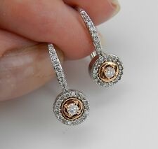 Diamond Drop Earrings Halo Earrings Pink Rose Gold White Gold Earrings Heart