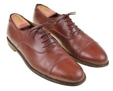 Salvatore Ferragamo Brown Leather Plain Cap Toe Balmoral Oxford Dress Shoes 11.5