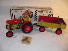 Tin TOY TRACTOR ZETOR with Trailer (Red/Yellow) of KOVAP